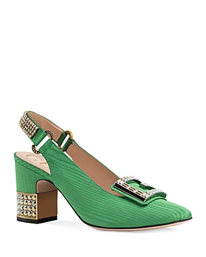 26771218ad Gucci Women'S Madelyn Silk Satin & Crystal G Mid Heel Pumps In Green ...
