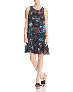 Robert Michaels - Botanical Ruffle-Hem Dress