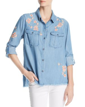 BILLY T EMBROIDERED BUTTON-DOWN TOP