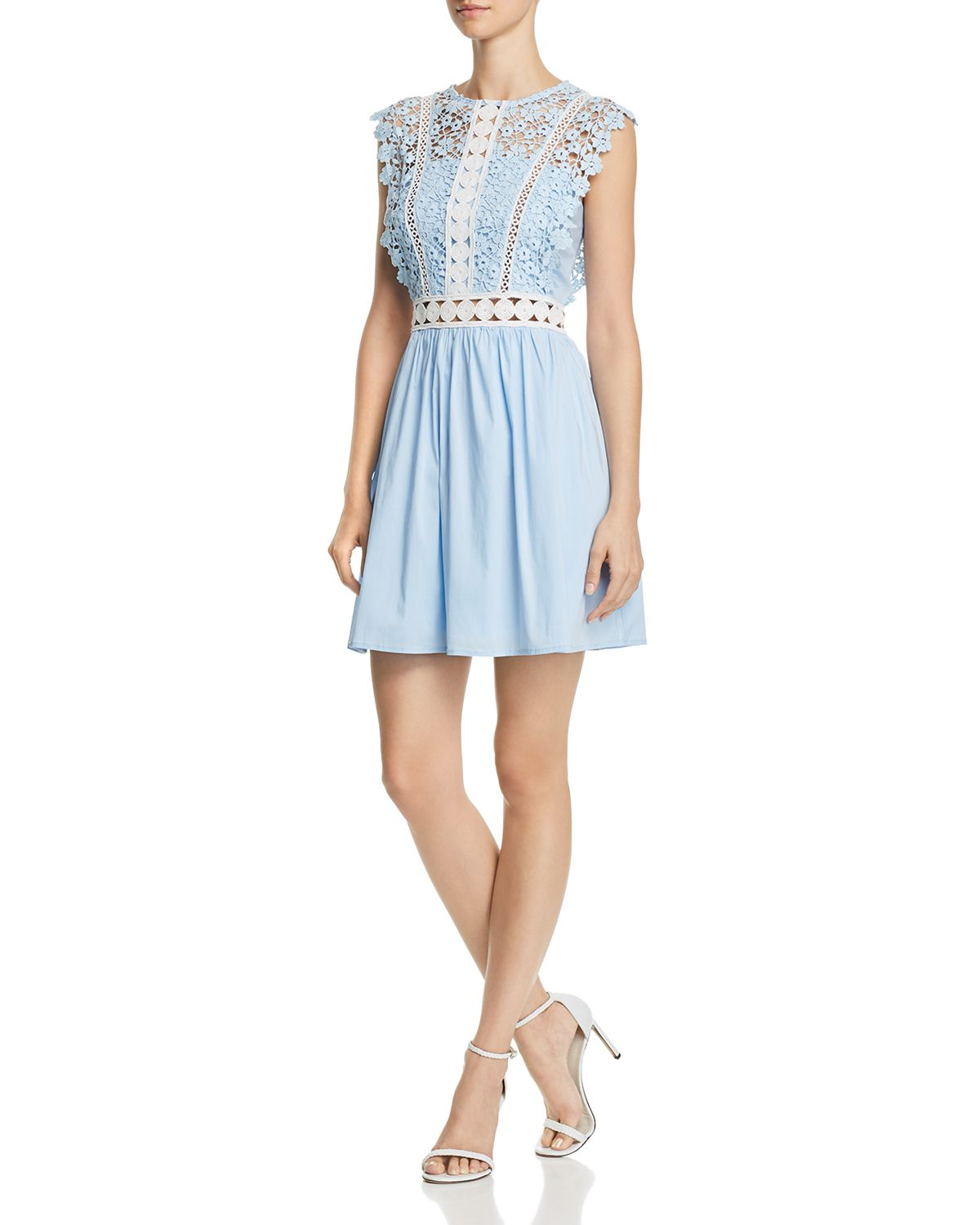 Lace & Poplin Fit And Flare Dress   100 Percents Exclusive  by Aqua