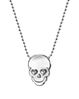 "Alex Woo - Silver Rockstar Skull Necklace, 16"""