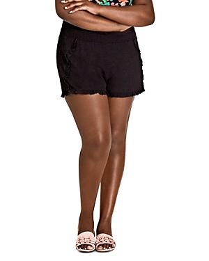 City Chic Plus Island Holiday Ruffle-Trim Shorts