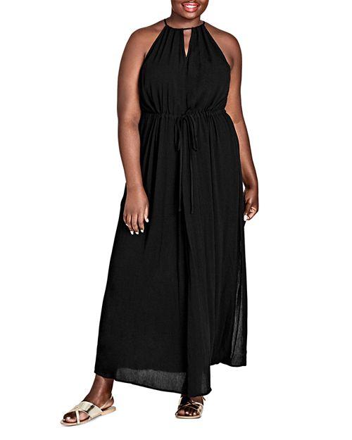 City Chic Plus - Sleeveless Drawstring Maxi Dress