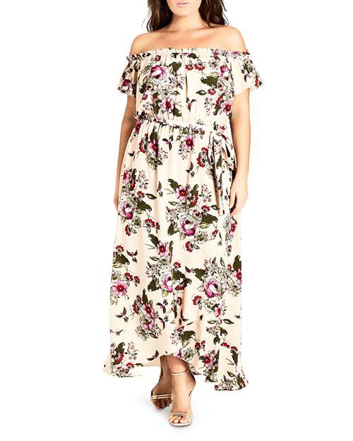 City Chic Plus - Lolita Floral-Print Off-the-Shoulder Maxi Dress