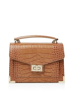 Emily Croc-Embossed Leather Mini Crossbody, Brown