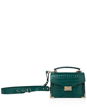 The Kooples Emily Croc-Embossed Leather Mini Crossbody In Green ... fe35d9e4348b0