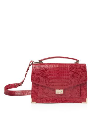 Emily Croc-Embossed Leather Maxi Crossbody, Red