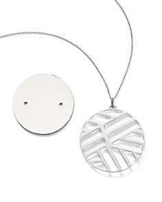 """Les Georgettes - Ruban Round Pendant Necklace in Black/White, 30"""""""