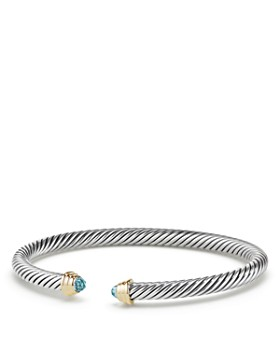 David Yurman Cable Kids Birthstone Bracelet With Aquamarine 14k Gold