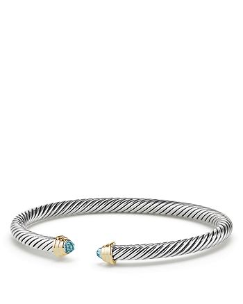 David Yurman - Cable Kids® Birthstone Bracelet with Aquamarine and 14K Gold, 4mm