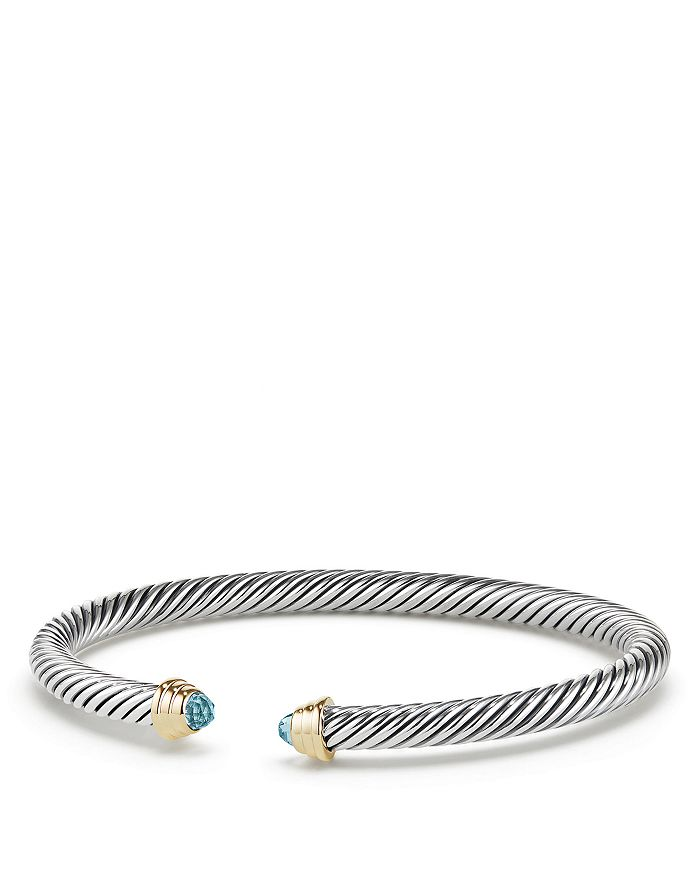 David Yurman - Cable Kids Birthstone Bracelet with Aquamarine & 14K Gold