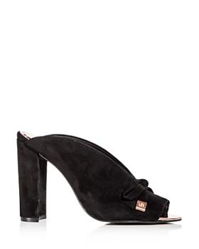 Ted Baker - Women's Marinax Suede High Block -Heel Slide Sandals