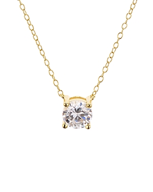 Classic Brilliant Pendant Necklace in Platinum-Plated Sterling Silver or 18K Gold-Plated Sterling Silver