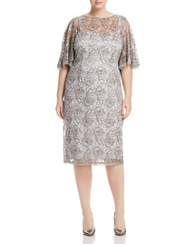 Adrianna Papell Plus - Lace Flutter-Sleeve Dress