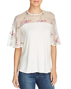 Kim & Cami - Floral-Embroidered Flutter-Sleeve Top