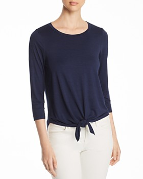 Three Dots - Tie-Front Jersey Top