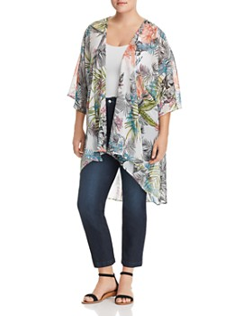 Status by Chenault Plus - Botanical Print High/Low Kimono