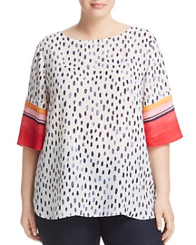 NIC and ZOE Plus - Merengue Watercolor-Printed Top
