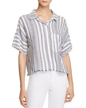 BELLA DAHL Stripe Camp Shirt in Navy