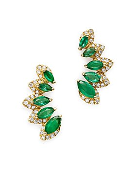 Bloomingdale's - Emerald & Diamond Climber Earrings in 14K Yellow Gold - 100% Exclusive