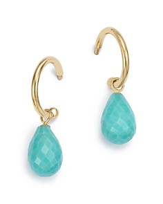 Bloomingdale's - Turquoise Briolette Hoop Drop Earrings in 14K Yellow Gold - 100% Exclusive