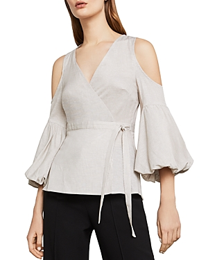 Bcbgmaxazria Cold-Shoulder Striped Wrap Top