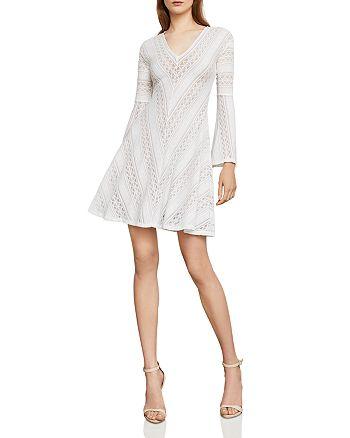 BCBGMAXAZRIA - Bell Sleeve Lace A-Line Dress