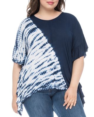 Trishe Asymmetric Tie Dyed Top by B Collection By Bobeau Curvy