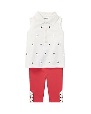 Ralph Lauren Girls Sleeveless Polo  LaceUp Leggings Set  Baby