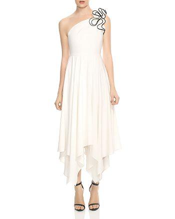 HALSTON HERITAGE - One-Shoulder Ruffled Strap Dress