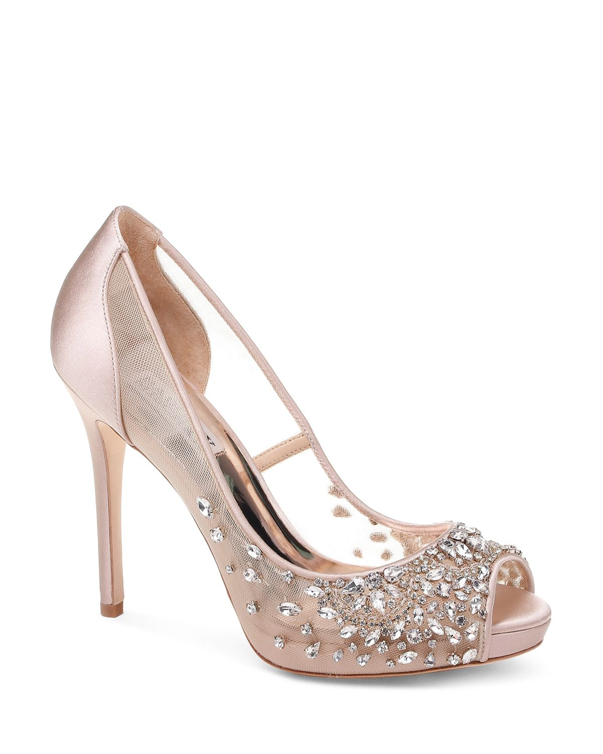 Badgley Mischka Women's Pepper Embellished Mesh & Leather Peep Toe Pumps