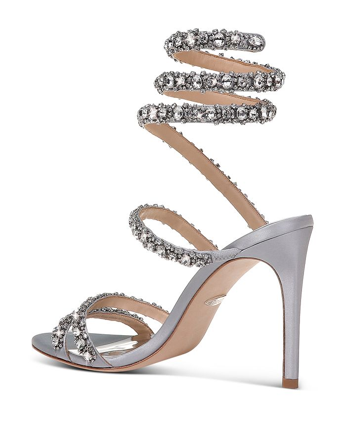 1719e3f0a Badgley Mischka - Women s Peace Embellished Satin Ankle Wrap High-Heel  Sandals