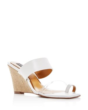 JAGGAR WOMEN'S WEDGED LEATHER WEDGE SLIDE SANDALS