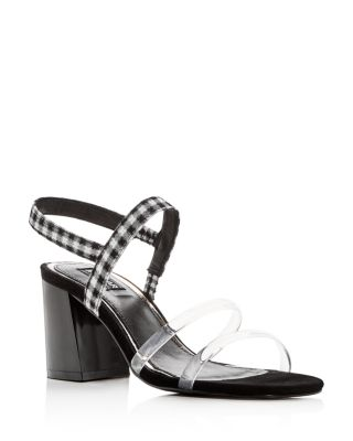 JAGGAR Women's Candy Gingham Slingback Block Heel Sandals yZGrabR