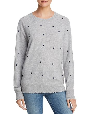 AQUA - Heart Embroidered Cashmere Sweater - 100% Exclusive
