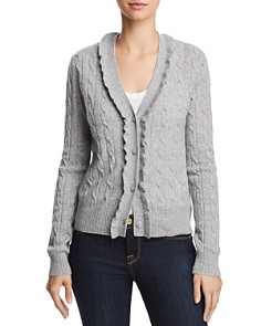 AQUA - Ruffled Cable-Knit Cashmere Cardigan - 100% Exclusive