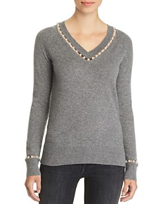 C by Bloomingdale's - Embellished V-Neck Cashmere Sweater - 100% Exclusive