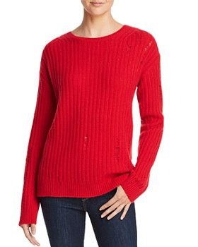 AQUA - Rib-Knit Distressed Cashmere Sweater - 100% Exclusive