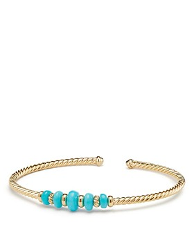 David Yurman - Cabled Cuff Bracelet with Turquoise in 18K Gold