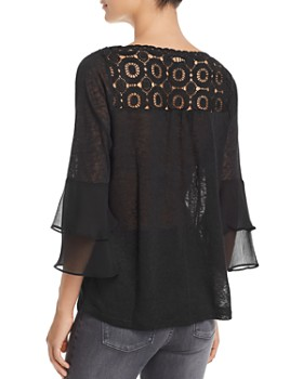 Avec - Mixed Media Tiered-Sleeve Top