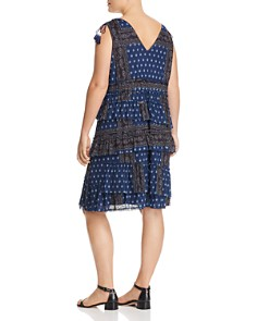 Love Scarlett Plus - Patchwork Print Tiered Ruffle Dress