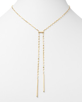 "Moon & Meadow - Flat Link Bar Drop Necklace in 14K Yellow Gold, 17"" - 100% Exclusive"