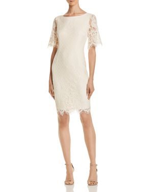 ADRIANNA PAPELL Georgia Scalloped Lace Sheath Dress, Ivory