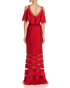 Tadashi Petites - Pintucked Cold-Shoulder Gown - 100% Exclusive