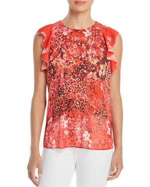 T TAHARI KELBY PRINTED RUFFLE-TRIM BLOUSE - 100% EXCLUSIVE