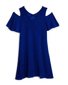 AQUA - Girls' Cold-Shoulder Crisscross-Back Chiffon Dress, Big Kid - 100% Exclusive