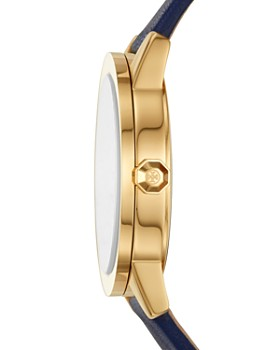 Tory Burch - Gigi Gold-Tone and Navy Strap Leather Watch, 36mm