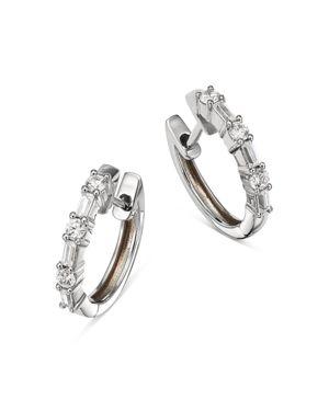 Bloomingdale's Diamond Baguette & Round Huggie Hoop Earrings in 14K White Gold, 0.50 ct. t.w. - 100%