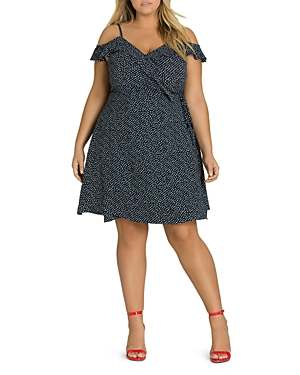 City Chic Plus Dot-Print Cold-Shoulder Wrap Dress
