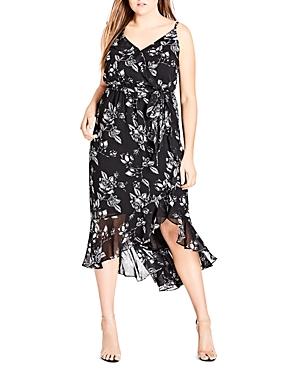 City Chic Plus Rose-Print Ruffled Midi Dress